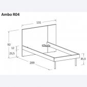 R04 131 x 229 x h 92 cm (dimensioni materasso 90 x 220 cm) Gambe Roll