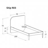 R03 98 x 209 x h 92 cm (mattress size 90 x 200 cm)